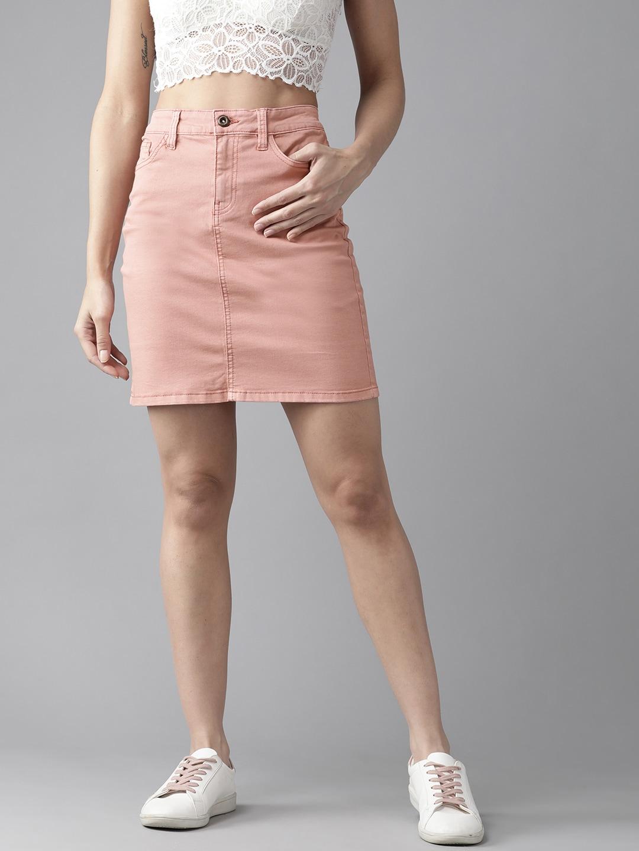 Roadster Women Pink Solid Denim Straight Skirt