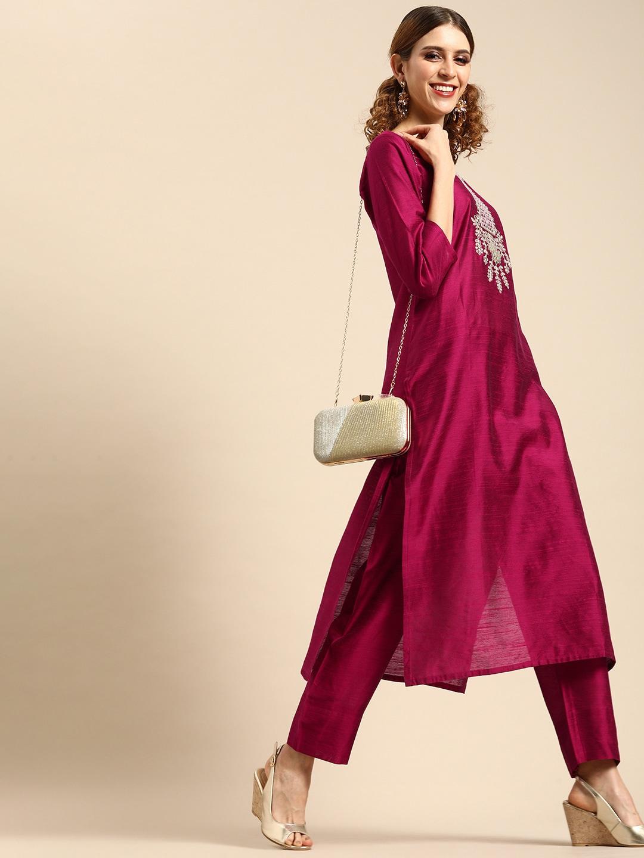 Varanga Women Magenta Pink Embroidered Kurta with Trousers