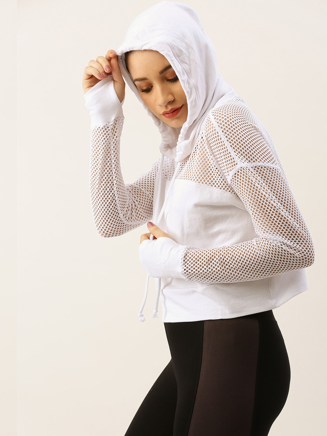 FOREVER 21 Women White Solid Sheer Top With Hood