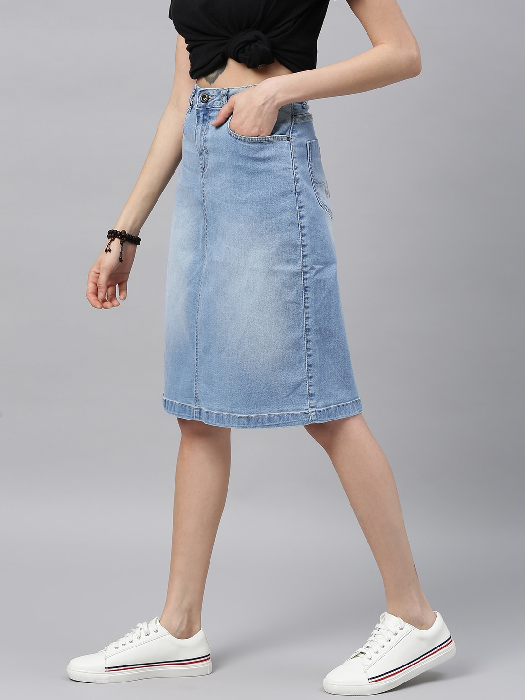 Roadster Women Blue Solid Light Fade Denim Skirt