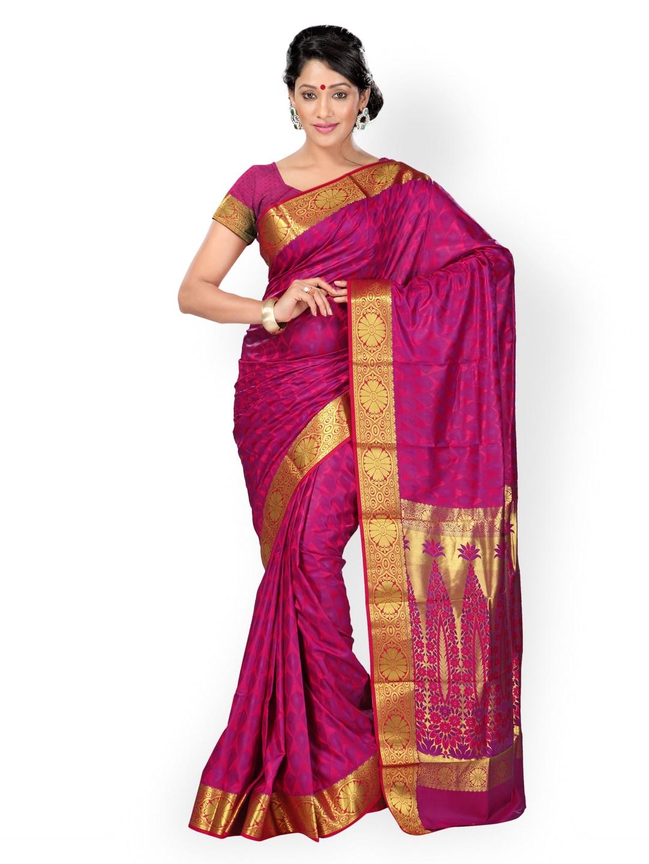 Varkala Silk Sarees Purple Art Silk & Jacquard Traditional Saree