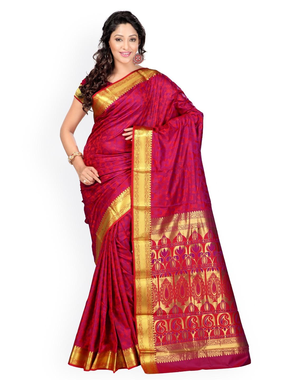 Varkala Silk Sarees Red & Magenta Jacquard Art Silk Traditional Saree