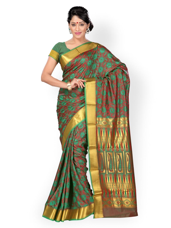 Varkala Silk Sarees Green & Red Jacquard & Art Silk Traditional Saree