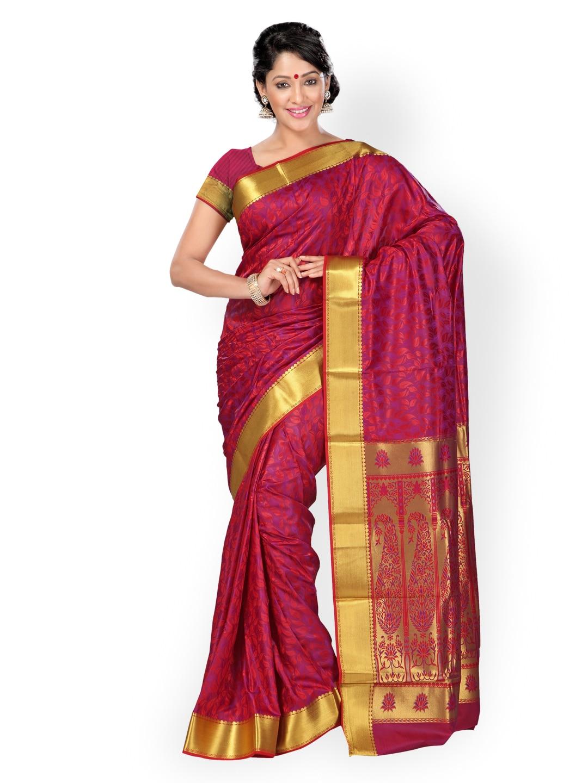 Varkala Silk Sarees Red & Purple Jacquard & Art Silk Traditional Saree