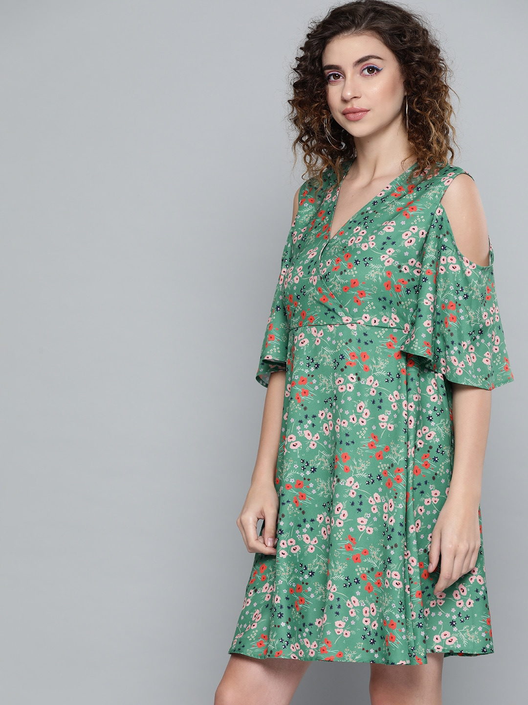 SASSAFRAS Women Green & Orange Floral Printed Wrap Dress