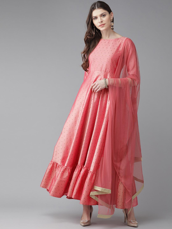 Libas Women Coral Pink & Golden Self Design Maxi Dress with Net Dupatta