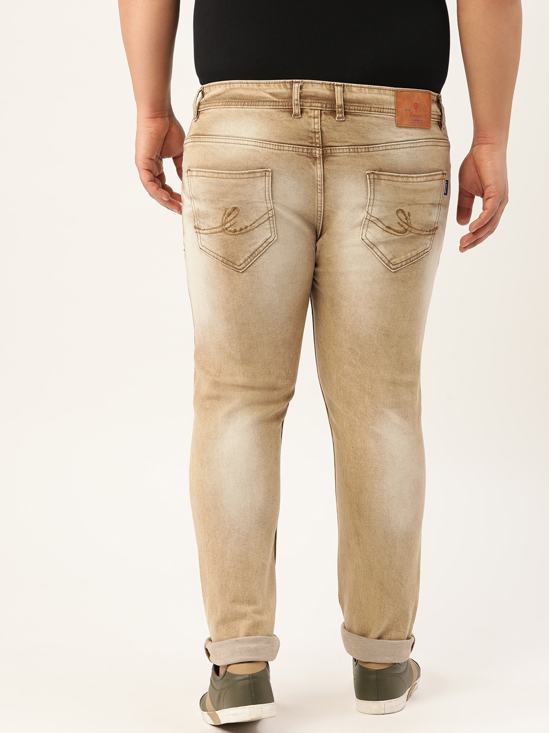FEVER Men Beige Slim Fit Mid-Rise Clean Look Stretchable Jeans