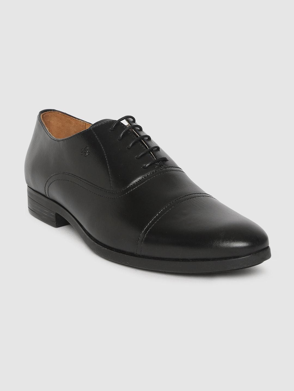 Arrow Men Black Genuine Leather Formal Oxfords