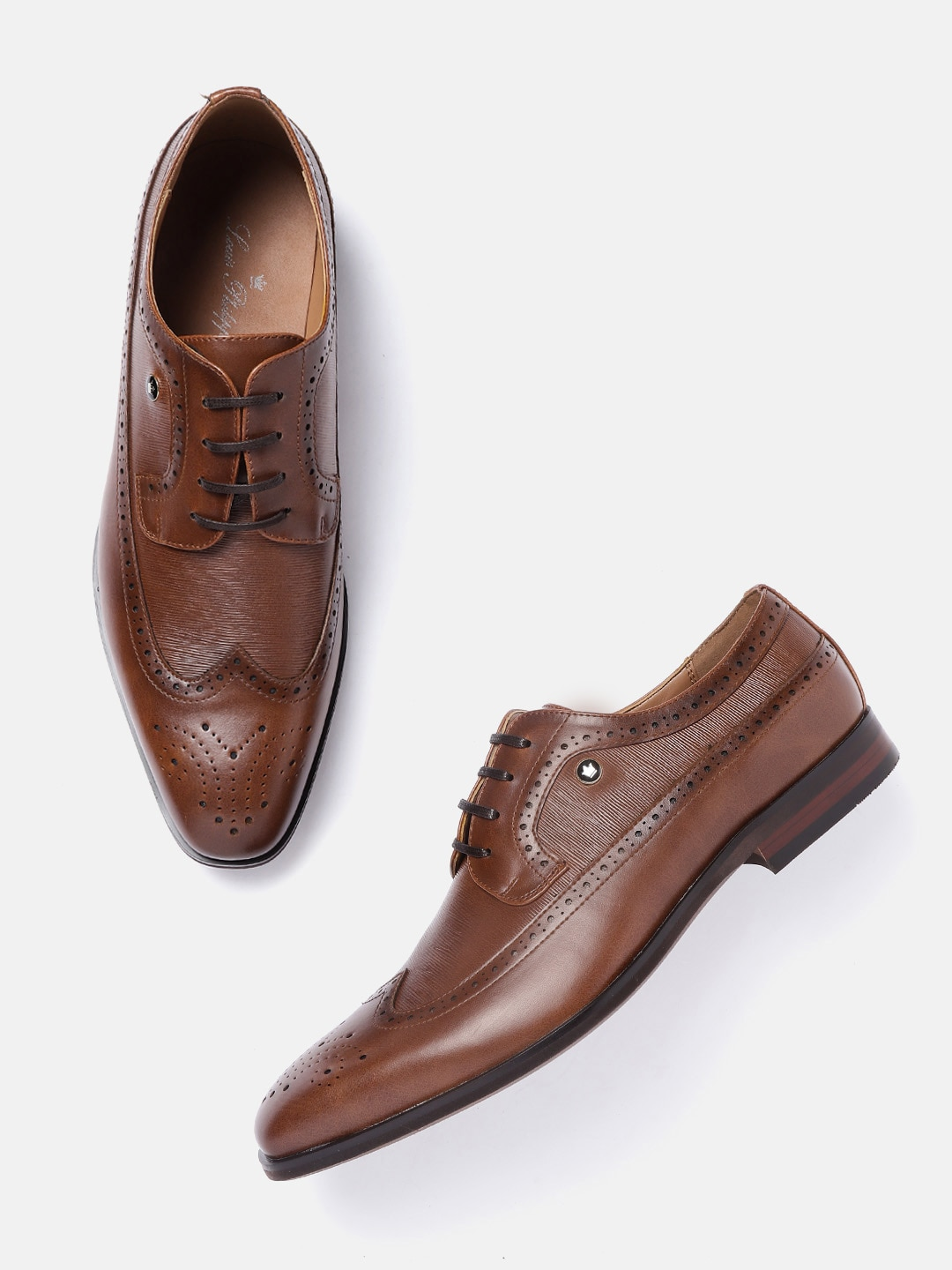 Louis Philippe Men Brown Textured Leather Formal Brogues