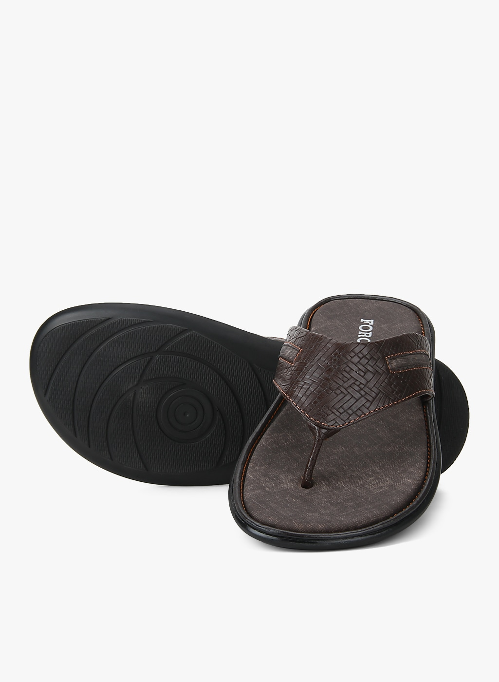 Forca by Lifestyle Men Coffee Brown Textured Comfort Sandals