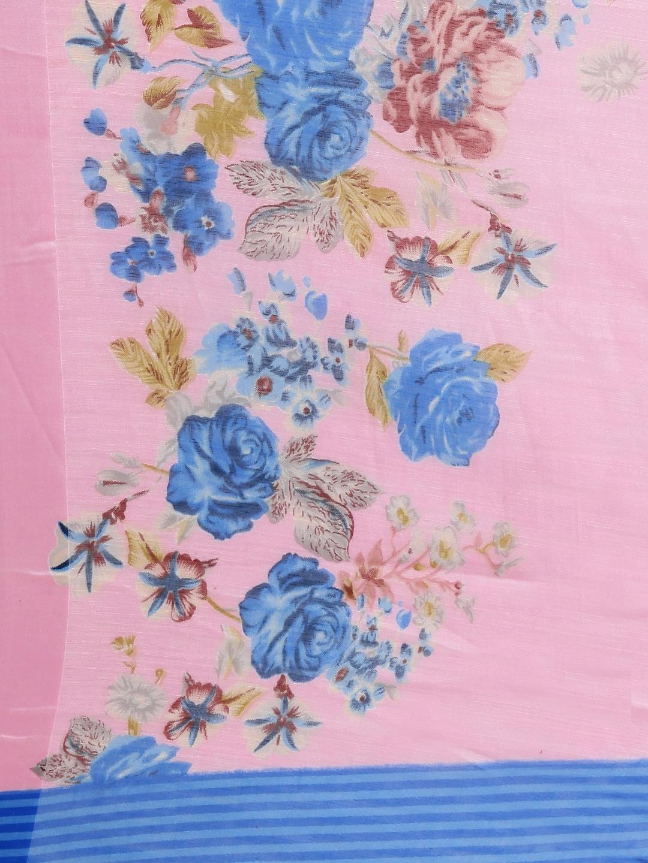 KALINI Pink & Blue Linen Blend Floral Printed Saree