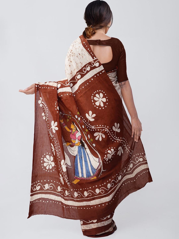 Unnati Silks Cream-Coloured & Brown Pure Cotton Batik Printed Saree