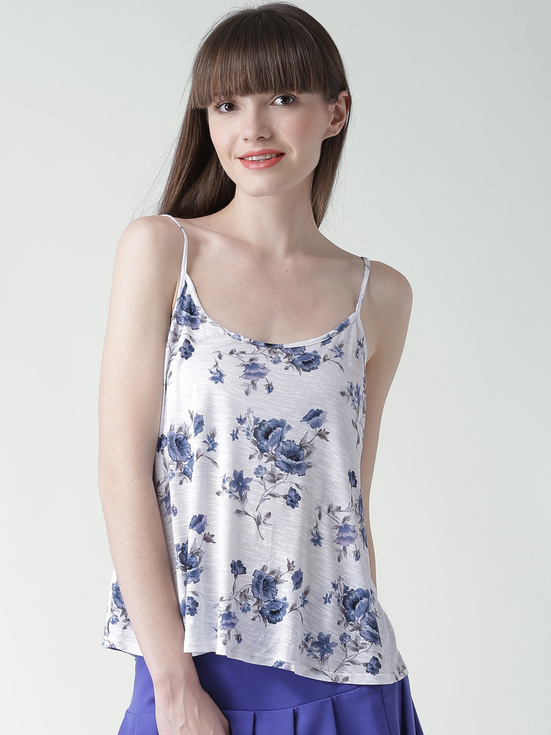 FOREVER 21 Off-White Floral Print Spaghetti Top
