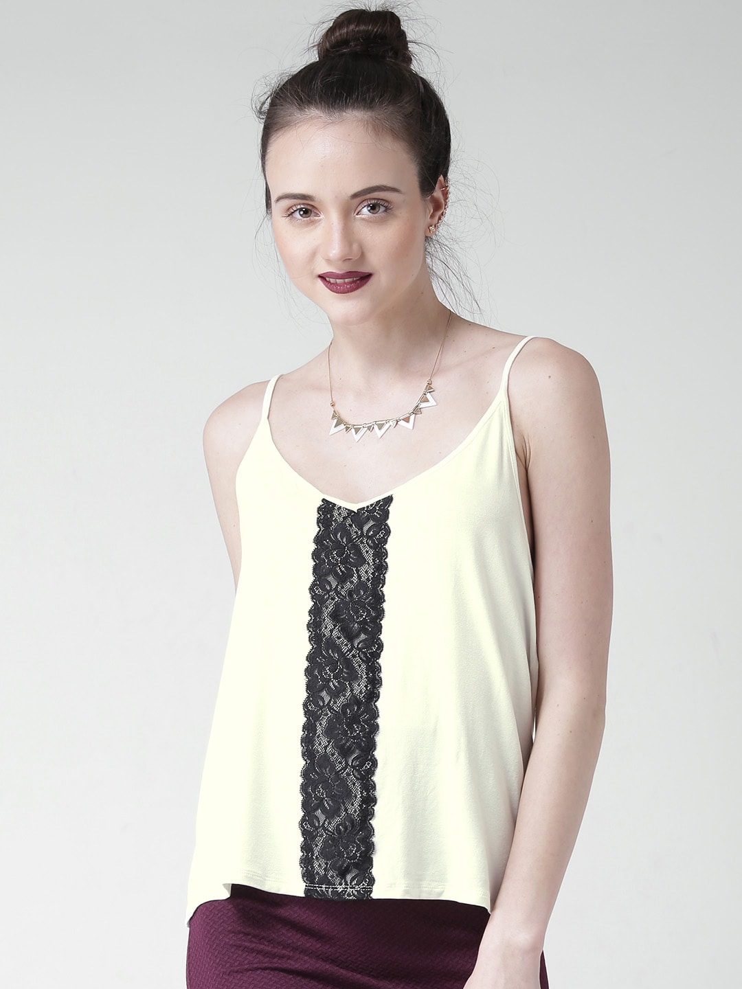 FOREVER 21 Off-White Spaghetti Top