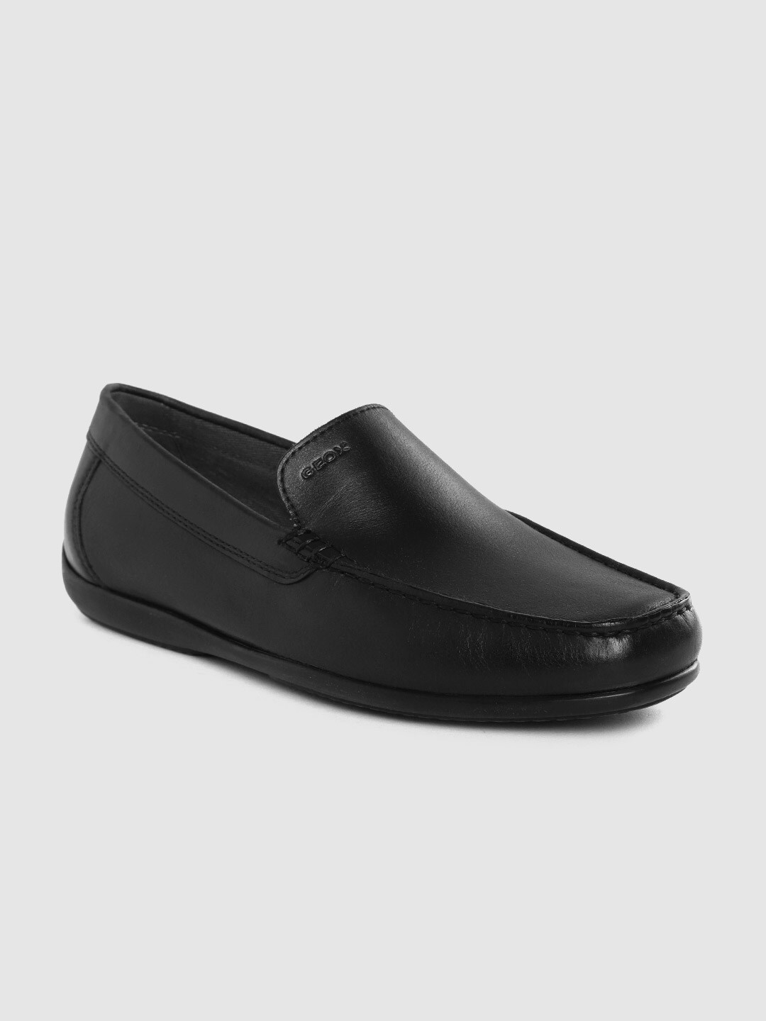 Geox Men Black Solid Leather Formal Driving Shoes