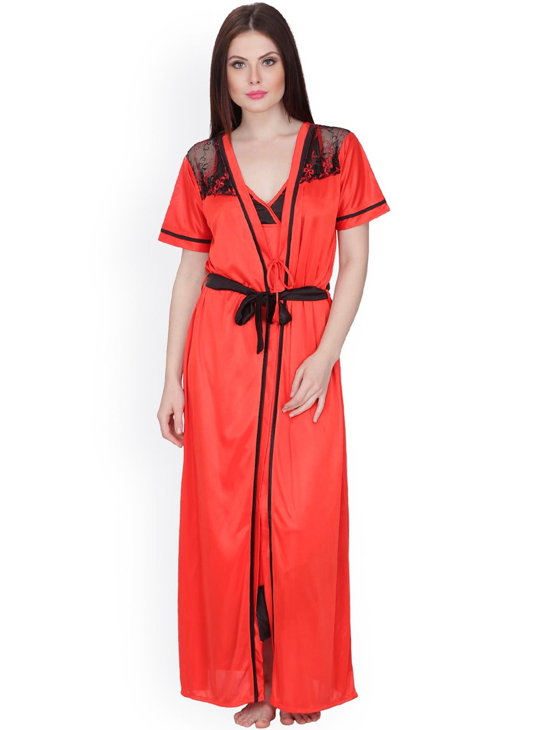 Secret Wish Red Maxi Nightdress with Robe HC-173