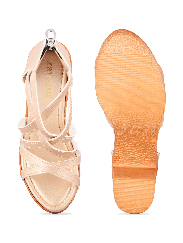 ZAPATOZ Women Beige Solid Sandals
