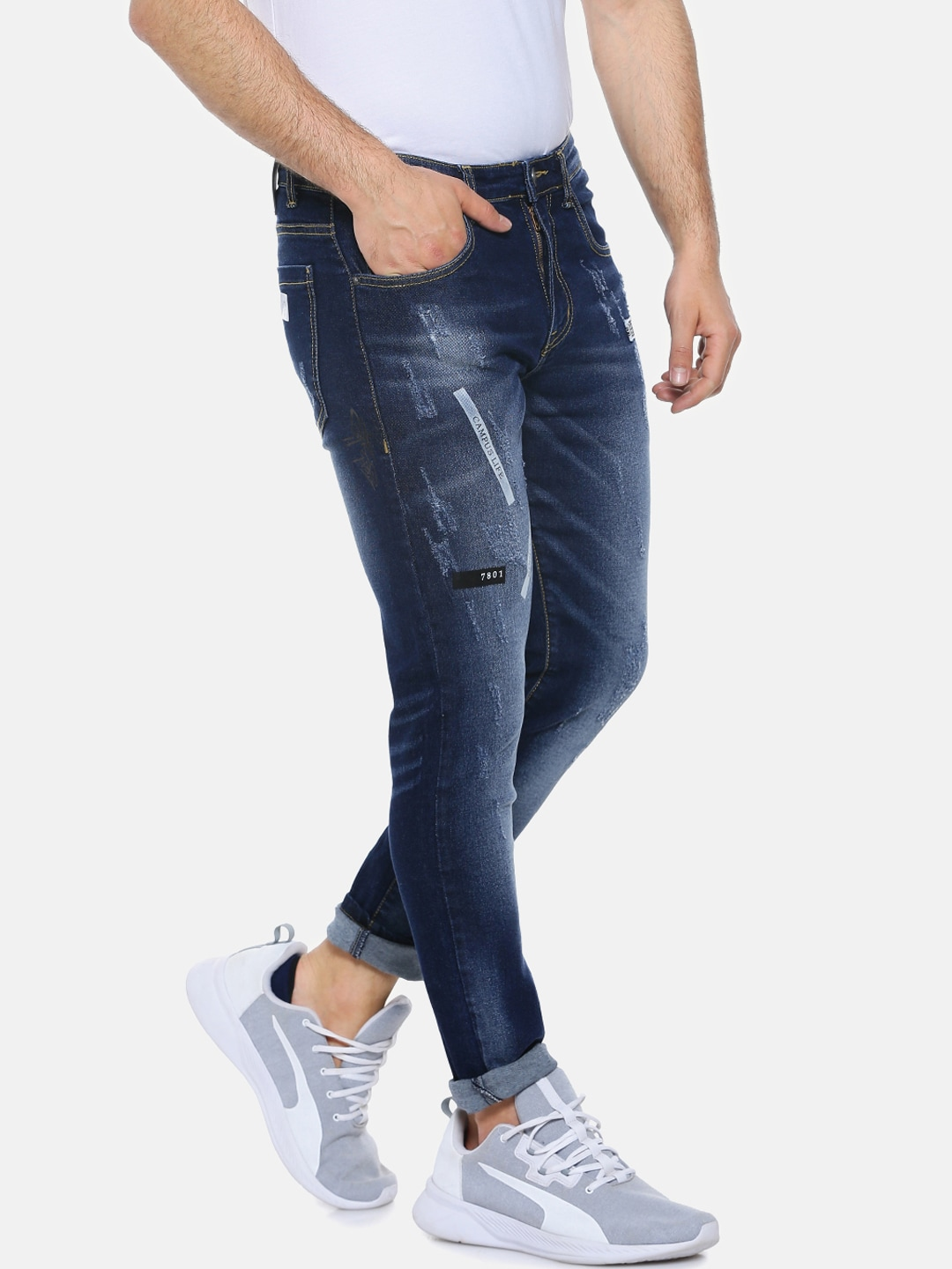 Campus Sutra Men Blue Slim Fit Mid-Rise Mildly Distressed Jeans