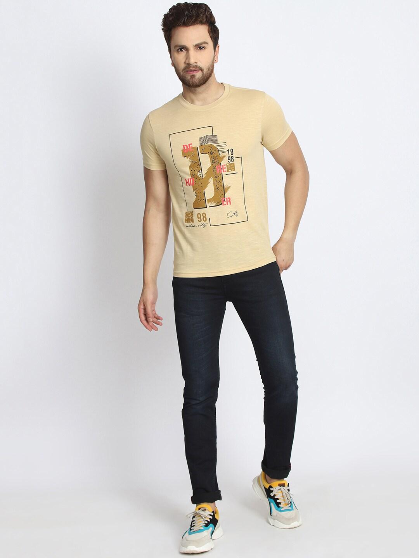 98 Degree North Men Beige Printed Round Neck T-shirt
