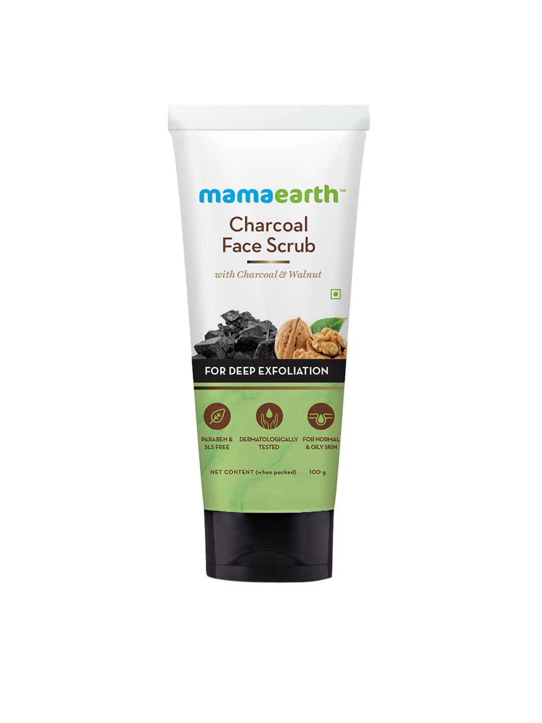 Mamaearth Charcoal Face Sustainable Scrub with Charcoal and Walnut for Deep Exfoliation 100 g