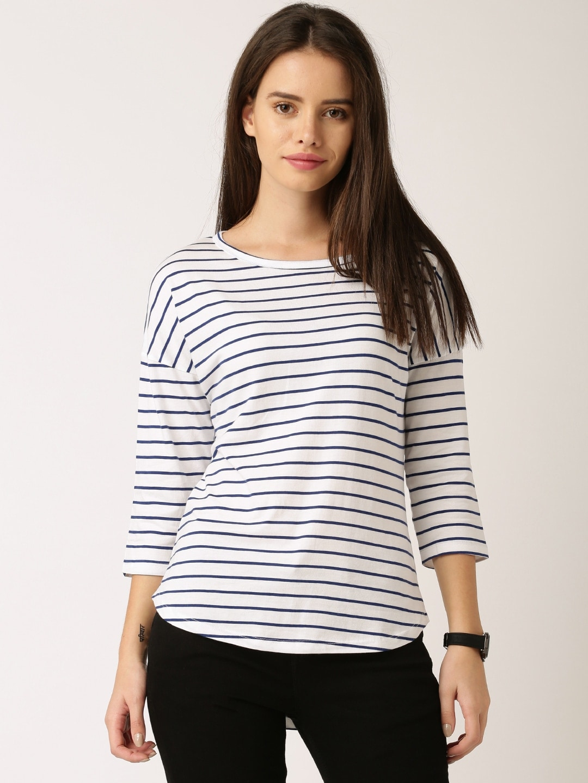 ether White & Navy Blue Striped Round Neck T-shirt