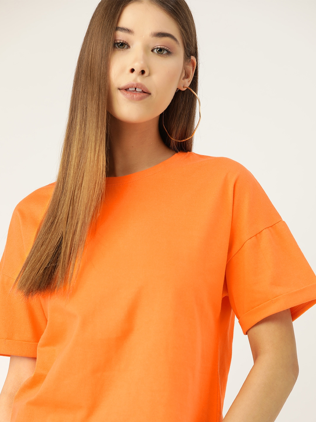 DressBerry Women Orange Solid Round Neck T-shirt
