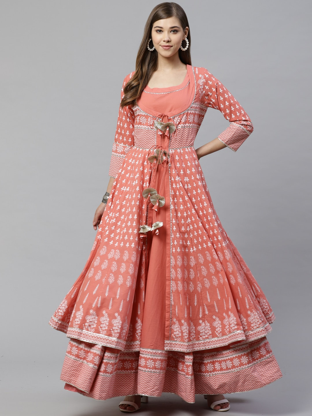 Divena Women Peach-Coloured Gotta Patti Printed Cotton Anarkali With Long Ethnic Jacket