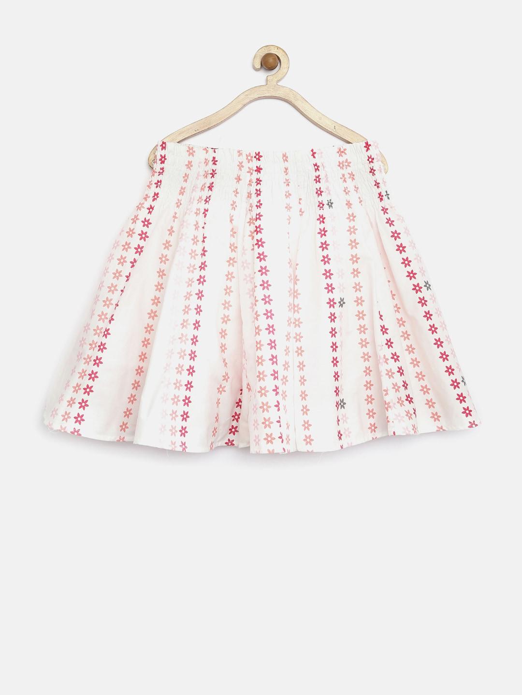Tiny Girl White Floral Print Flared Skirt