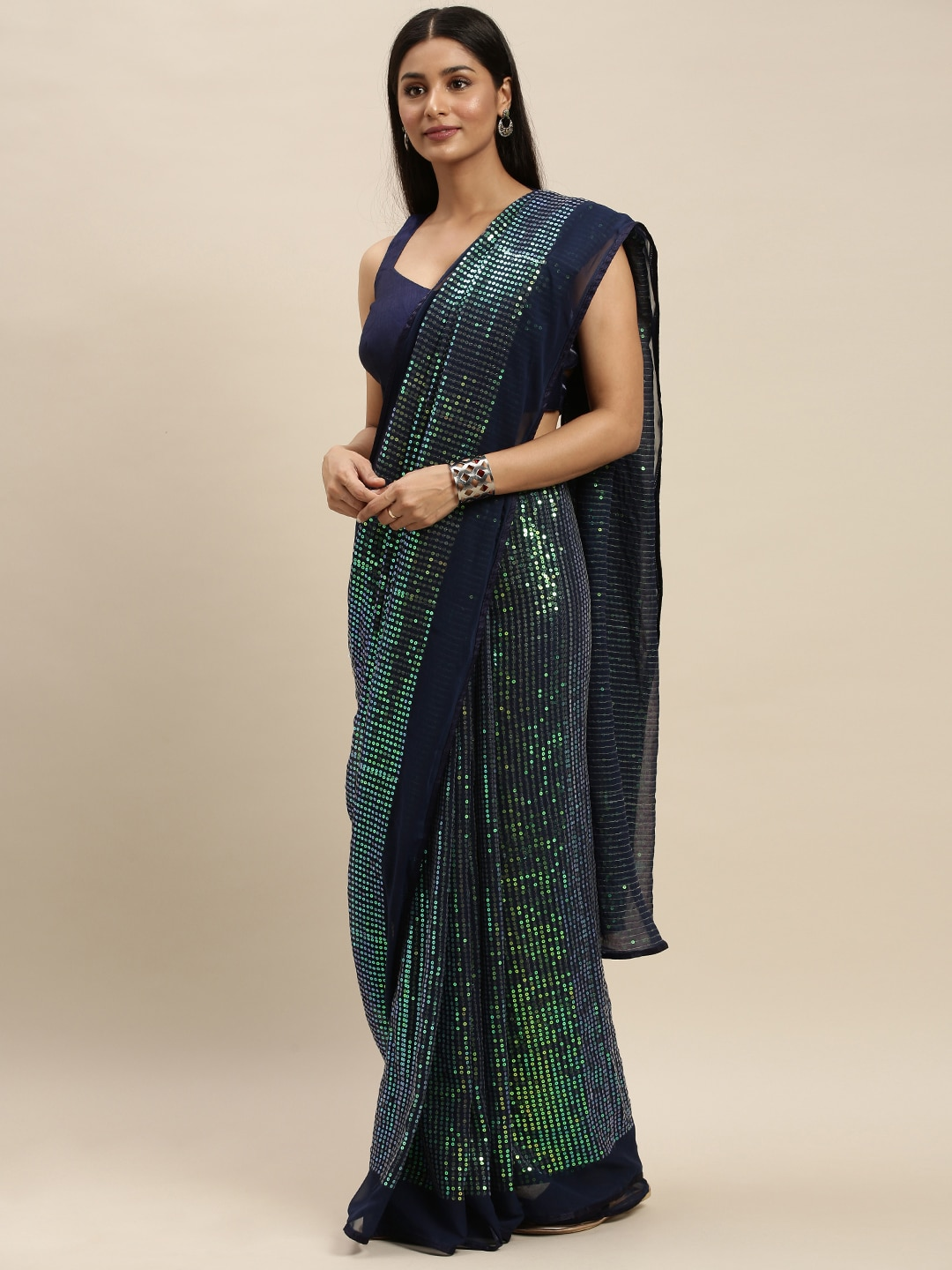 Mitera Navy Blue Sequinned Pure Georgette Saree
