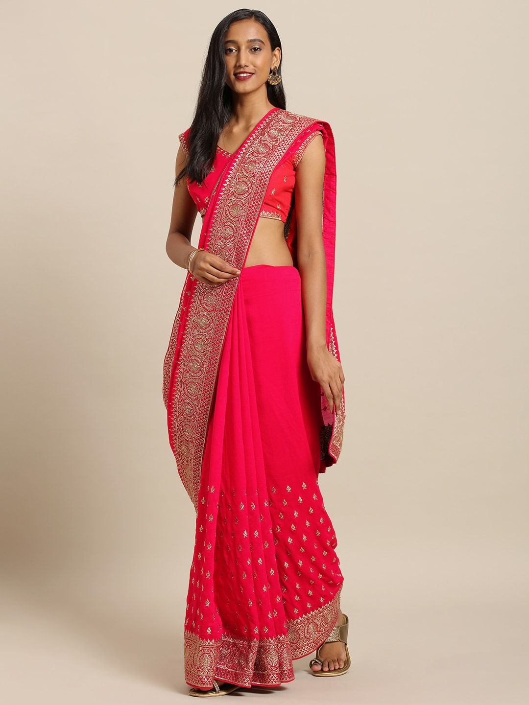 Soch Coral Pink Embroidered Pure Raw Silk Saree
