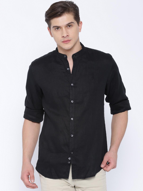 Buy Indian Terrain Men Black Linen Slim Fit Casual Shirt - Shirts ...