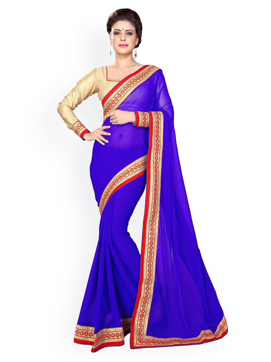 Mirchi Fashion Blue Faux Georgette Saree