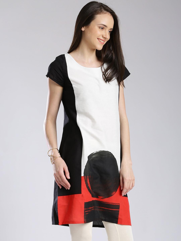 W Black & Off-White Panelled A-Line Kurta