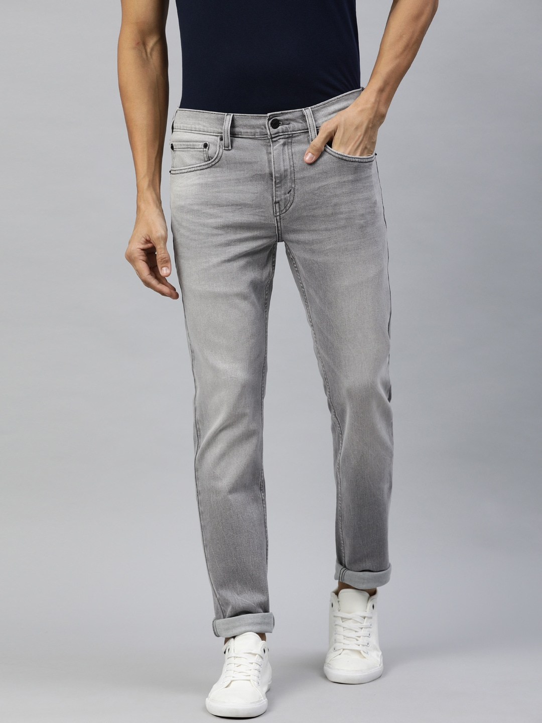 Denizen From Levis Men Grey 288 Skinny Fit Mid-Rise Clean Look Stretchable Jeans