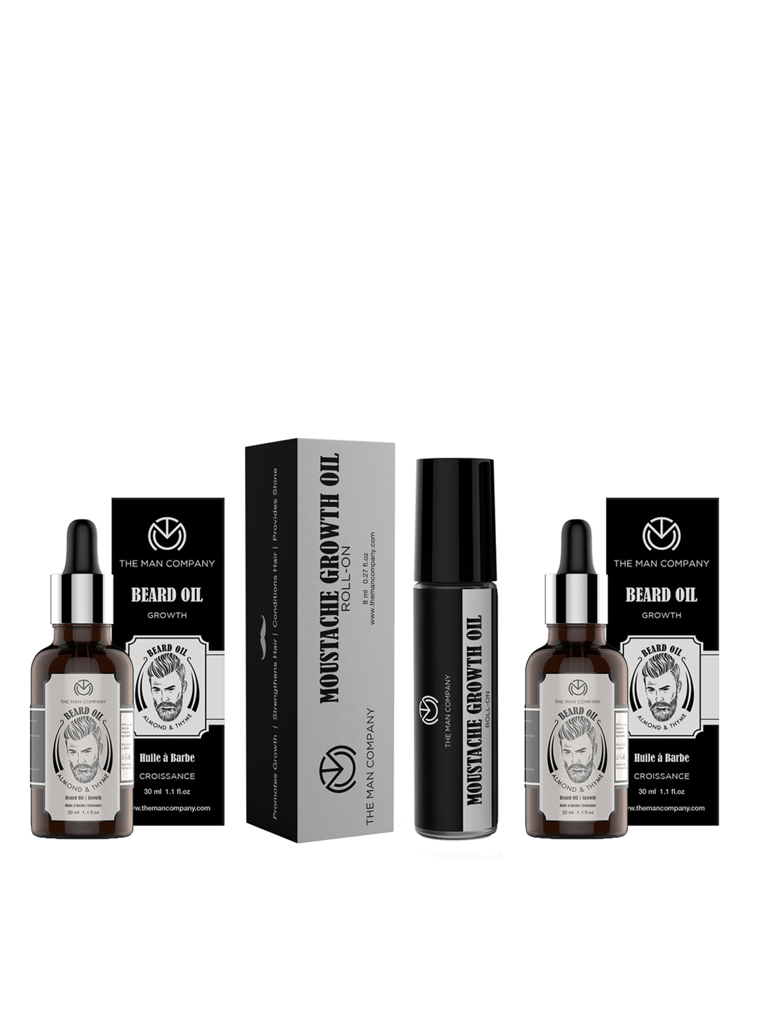 THE MAN COMPANY Set of 2 Almond & Thyme Beard Oil & 1 Moustache Growth Oil Roll-On