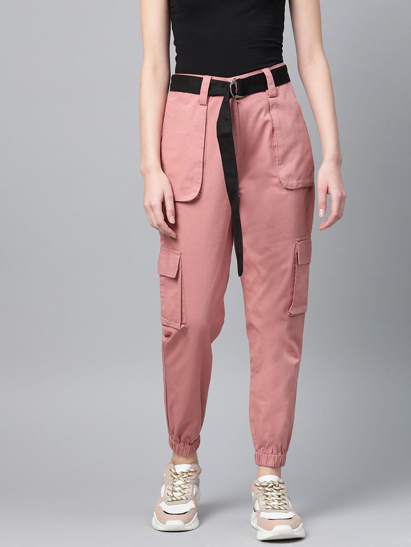 STREET 9 Women Pink Regular Fit Solid Cropped Cargos