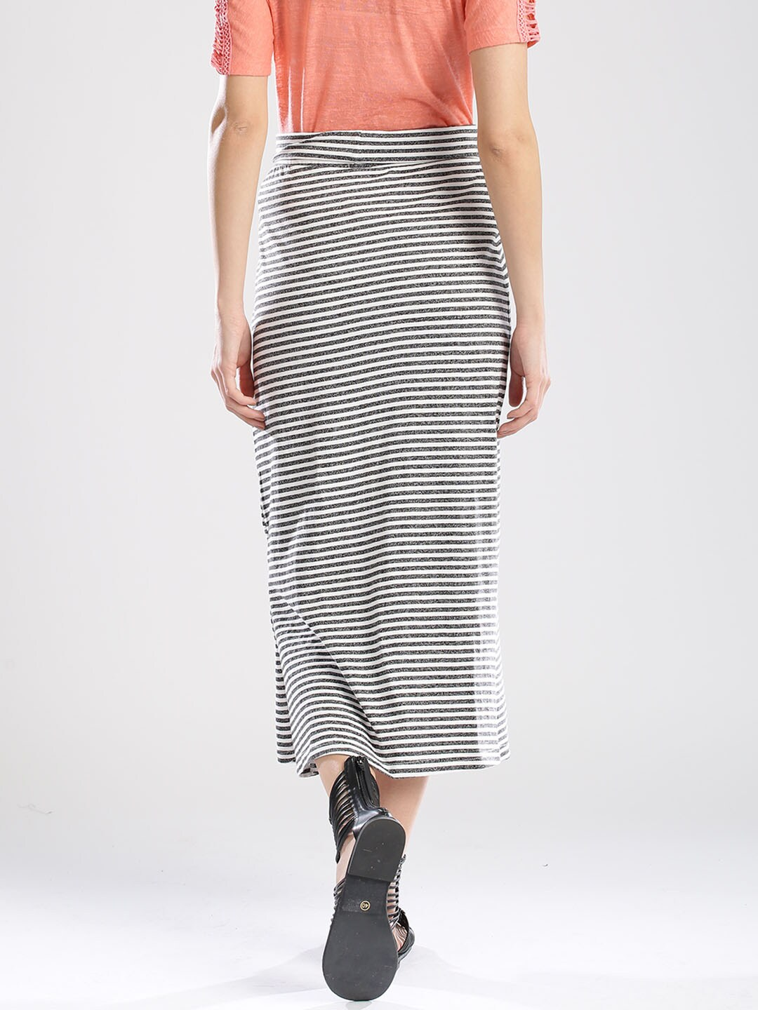 Buy Bossini Charcoal Grey & White Striped Maxi Skirt - Skirts for ...