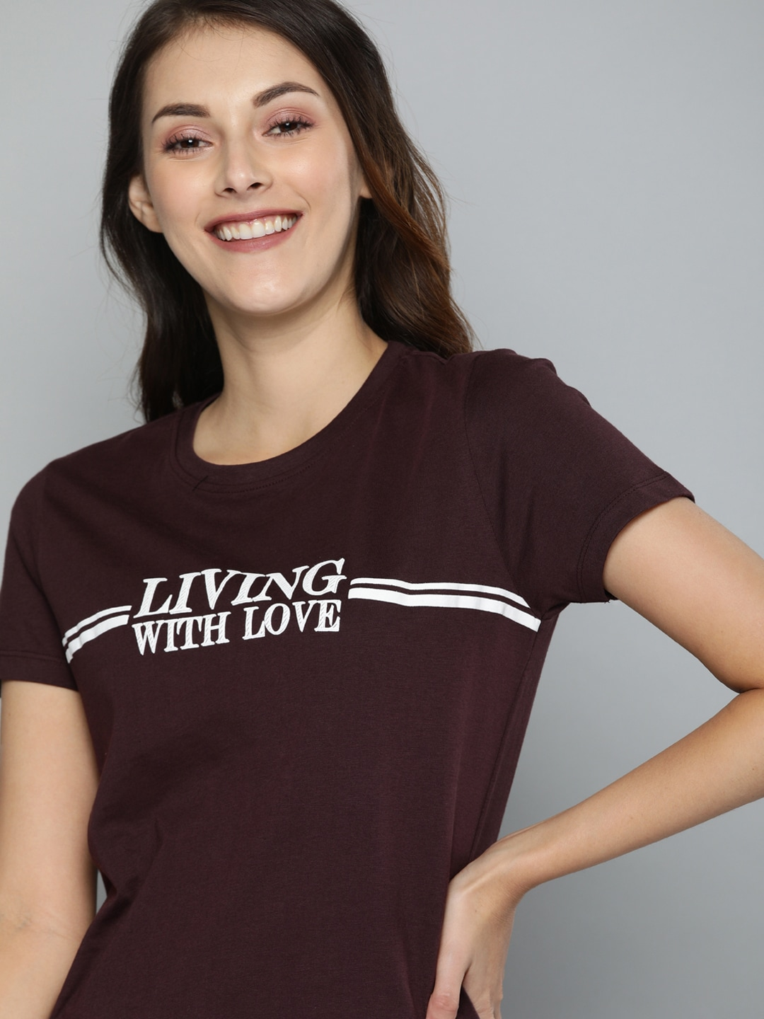 Mast & Harbour Women Brown Printed Round Neck T-shirt