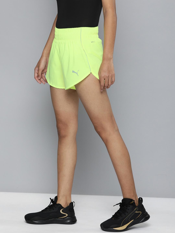 "Puma Women Yellow Ignite 3"" Solid Regular Fit Sports Shorts"