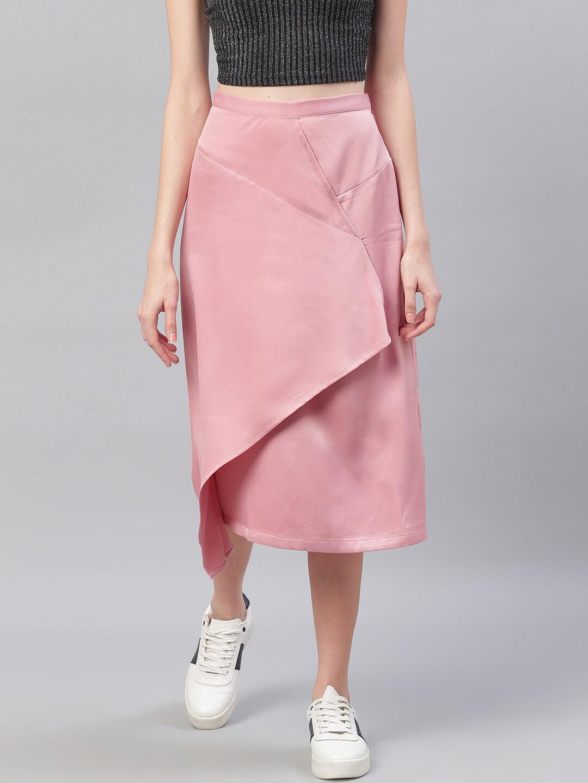 MANGO Women Dusty Pink Solid Midi Wrap Skirt