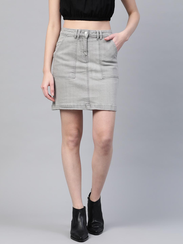 Marks & Spencer Women Grey Solid Denim A-Line Mini Skirt