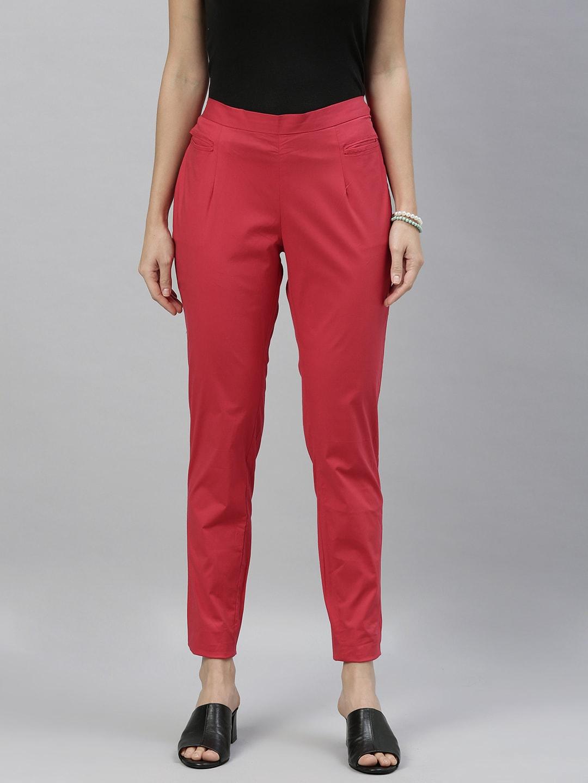 ETIQUETTE Women Red Slim Fit Solid Regular Trousers