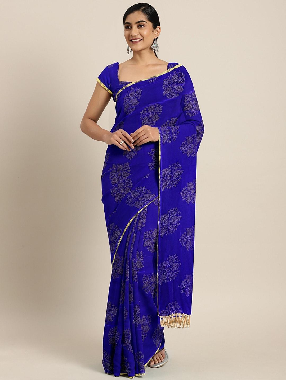 KALINI Blue & Off-White Poly Chiffon Printed Pochampally Saree