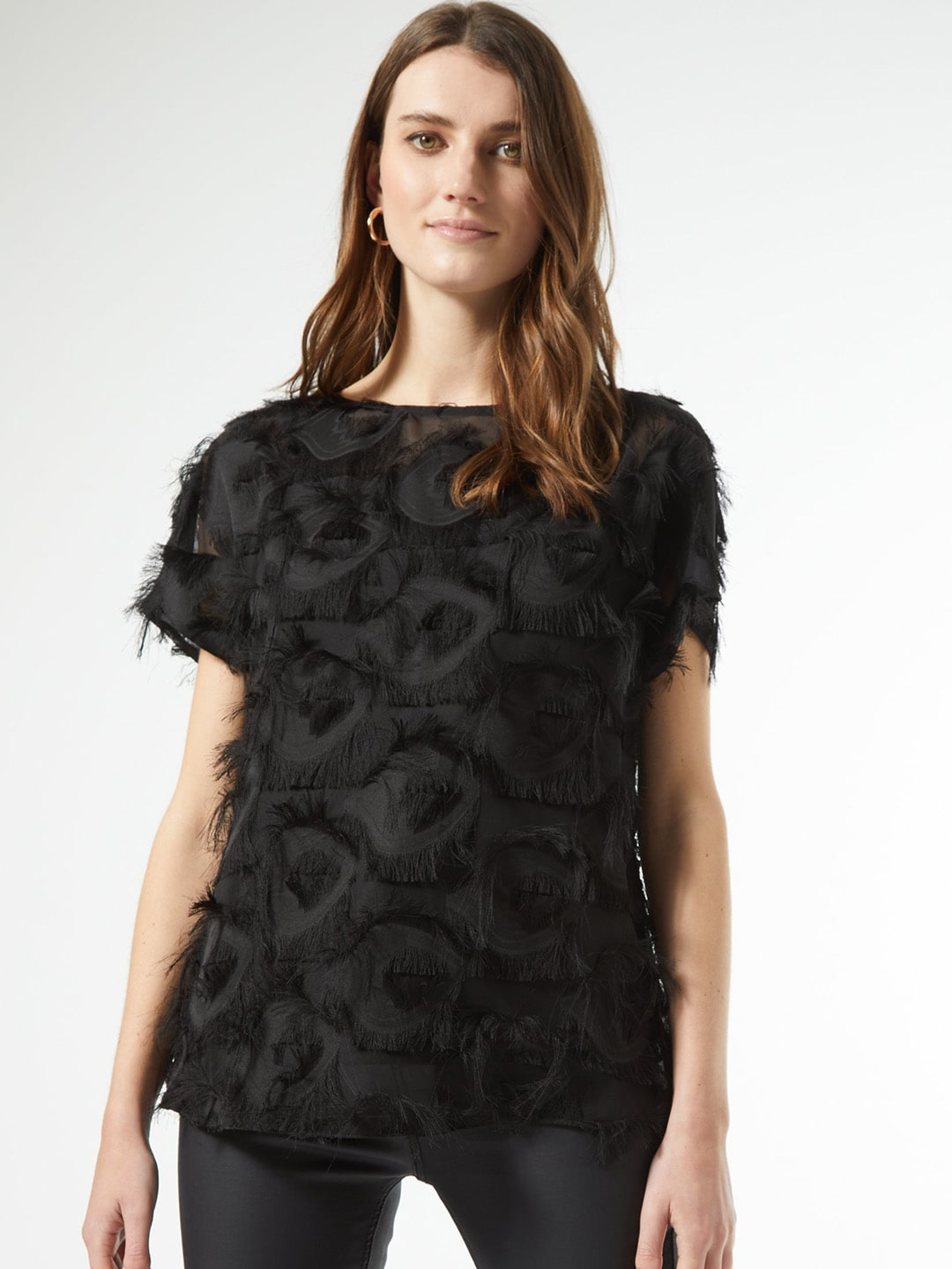 DOROTHY PERKINS Women Black Fringed Top
