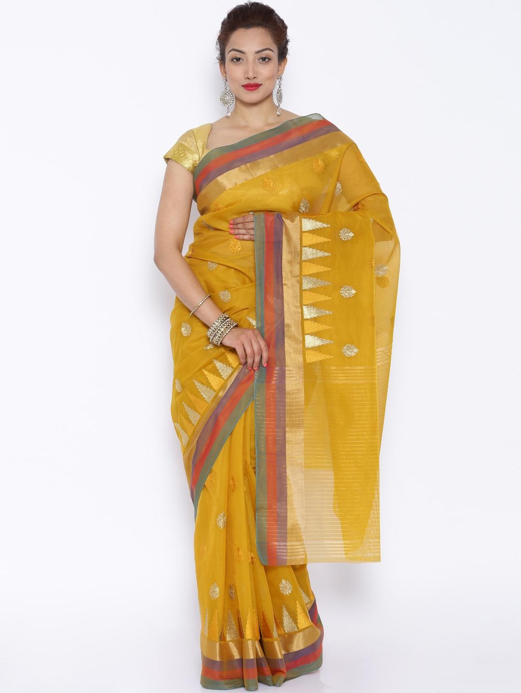 buy mysore saree udyog cream coloured cotton u0026 silk embroidered