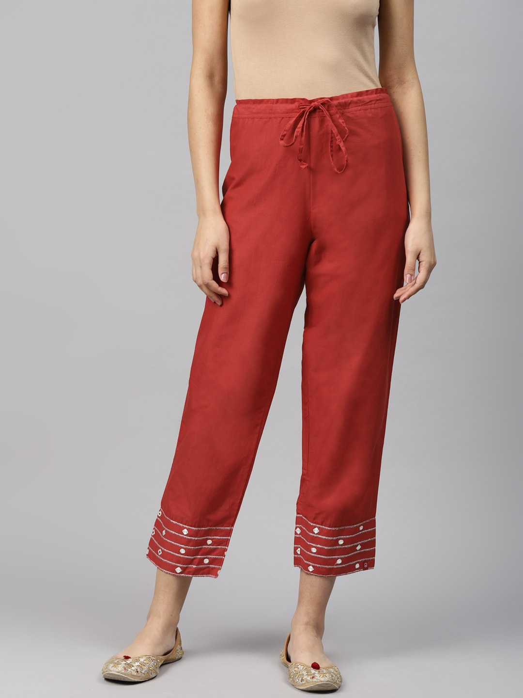 Biba Women Red Regular Fit Solid Cropped Trousers