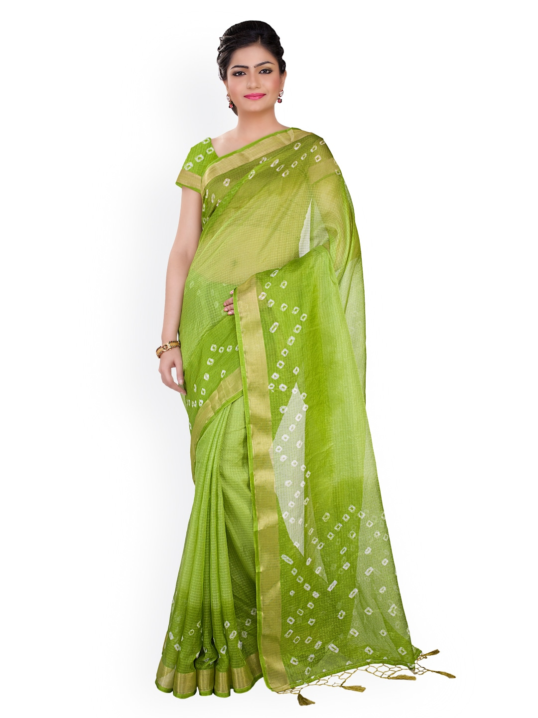 Buy Rajnandini Green Kota Cotton Amp Silk Bandhani Print