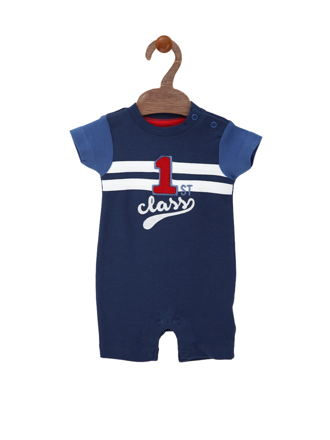 mothercare Boys Navy Printed Rompers