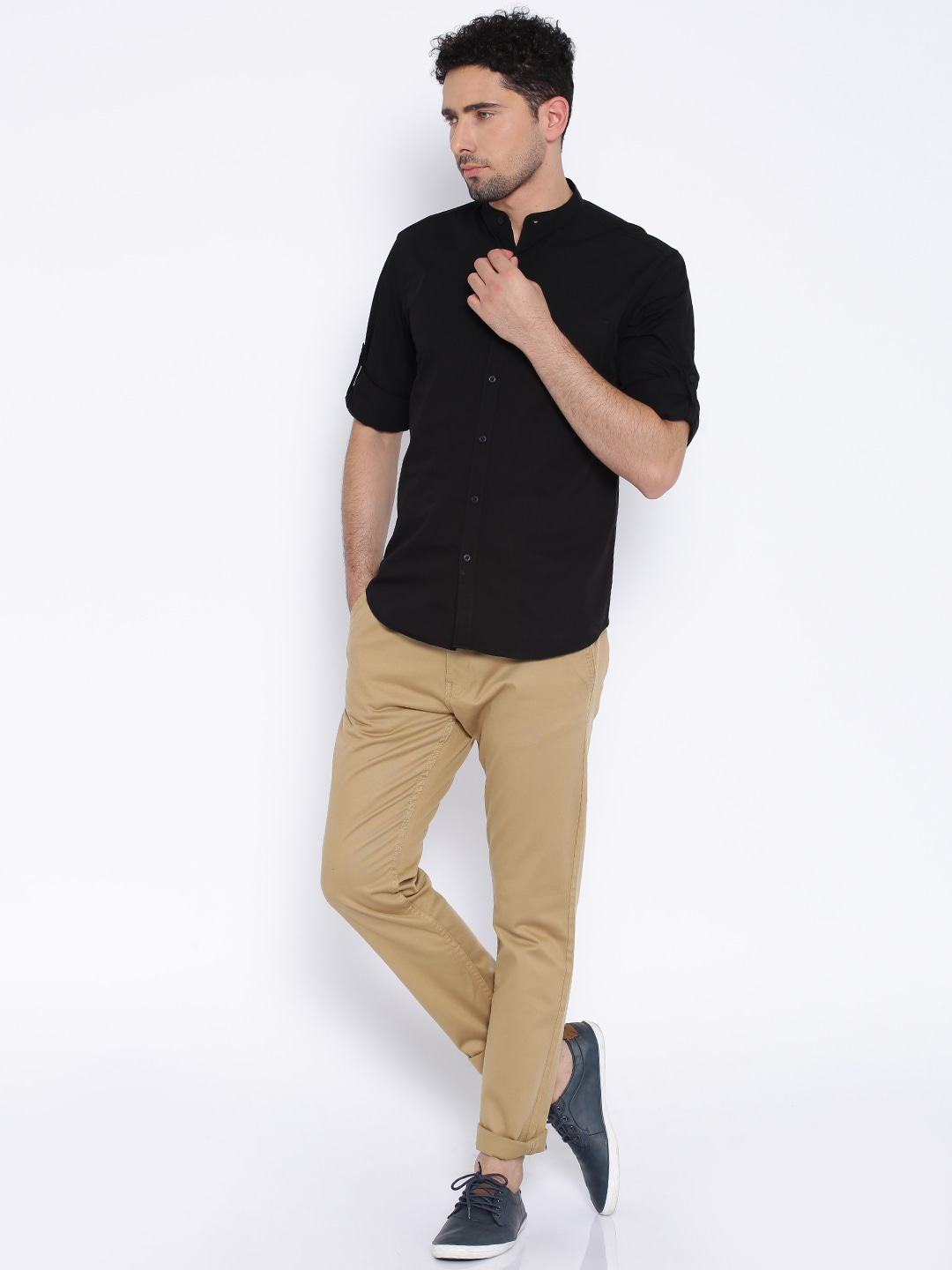 Black shirt brown shoes khaki pants style guru fashion Black shirt blue jeans