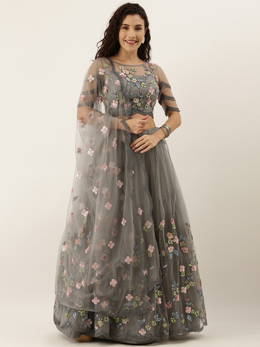 panchhi Grey & Pink Embroidered Semi-Stitched Lehenga & Unstitched Blouse with Dupatta